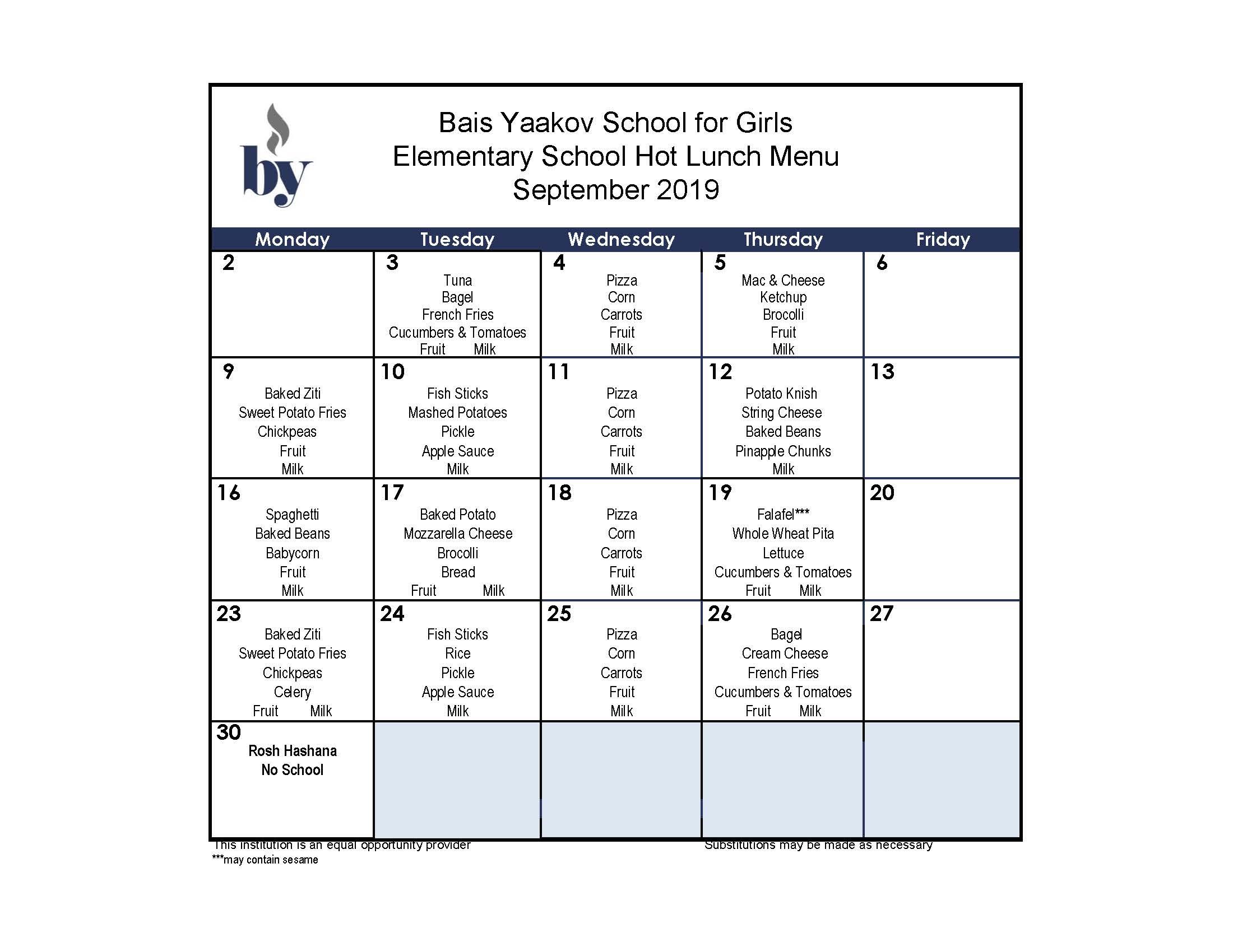 Elementary School September Menu
