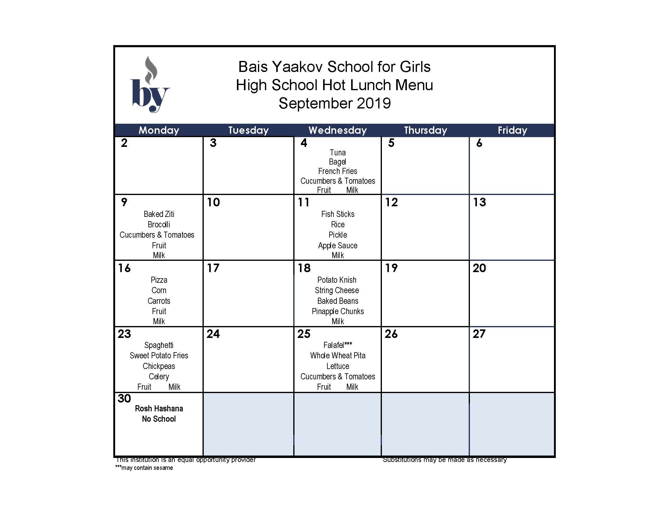 High School September Menu