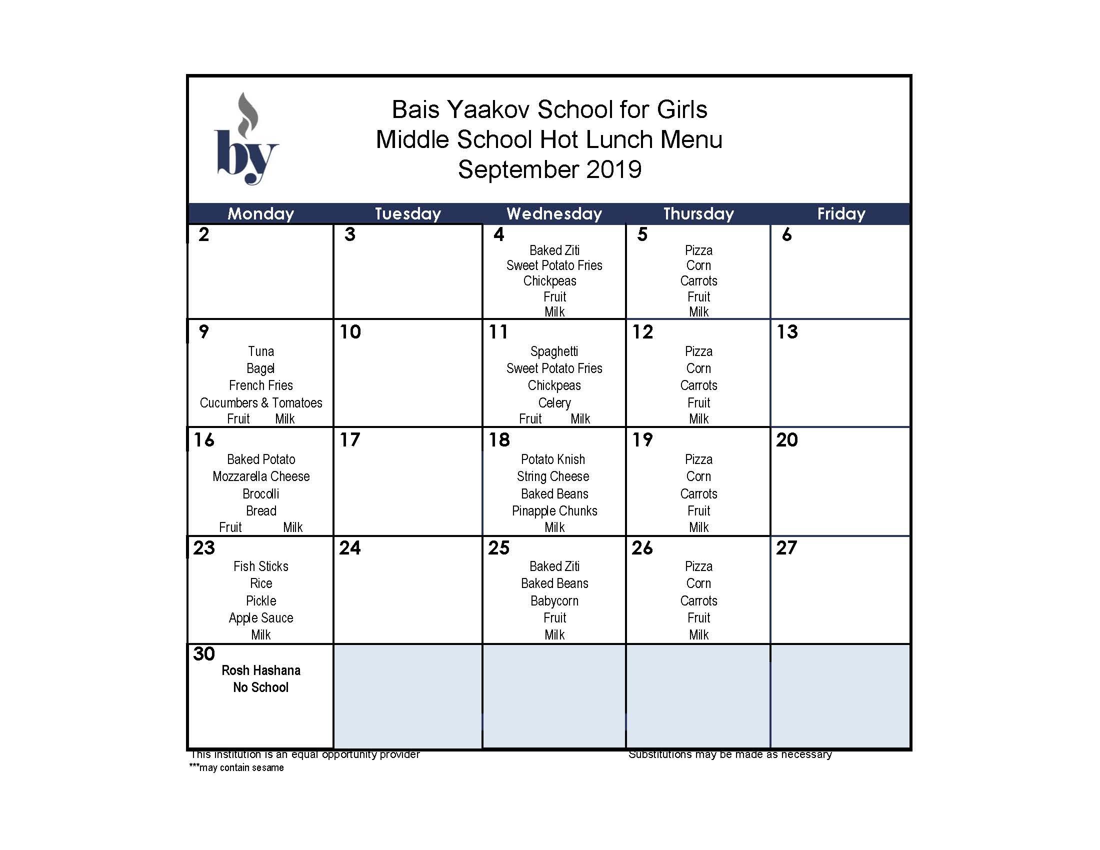 Middle School September Menu