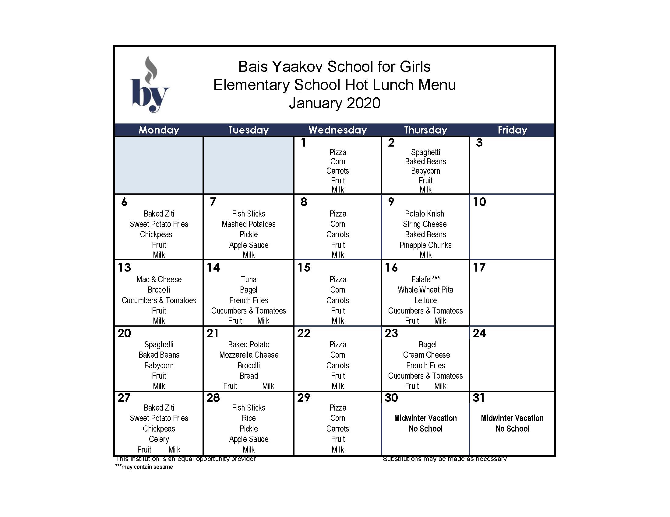 Elementary School January Menu