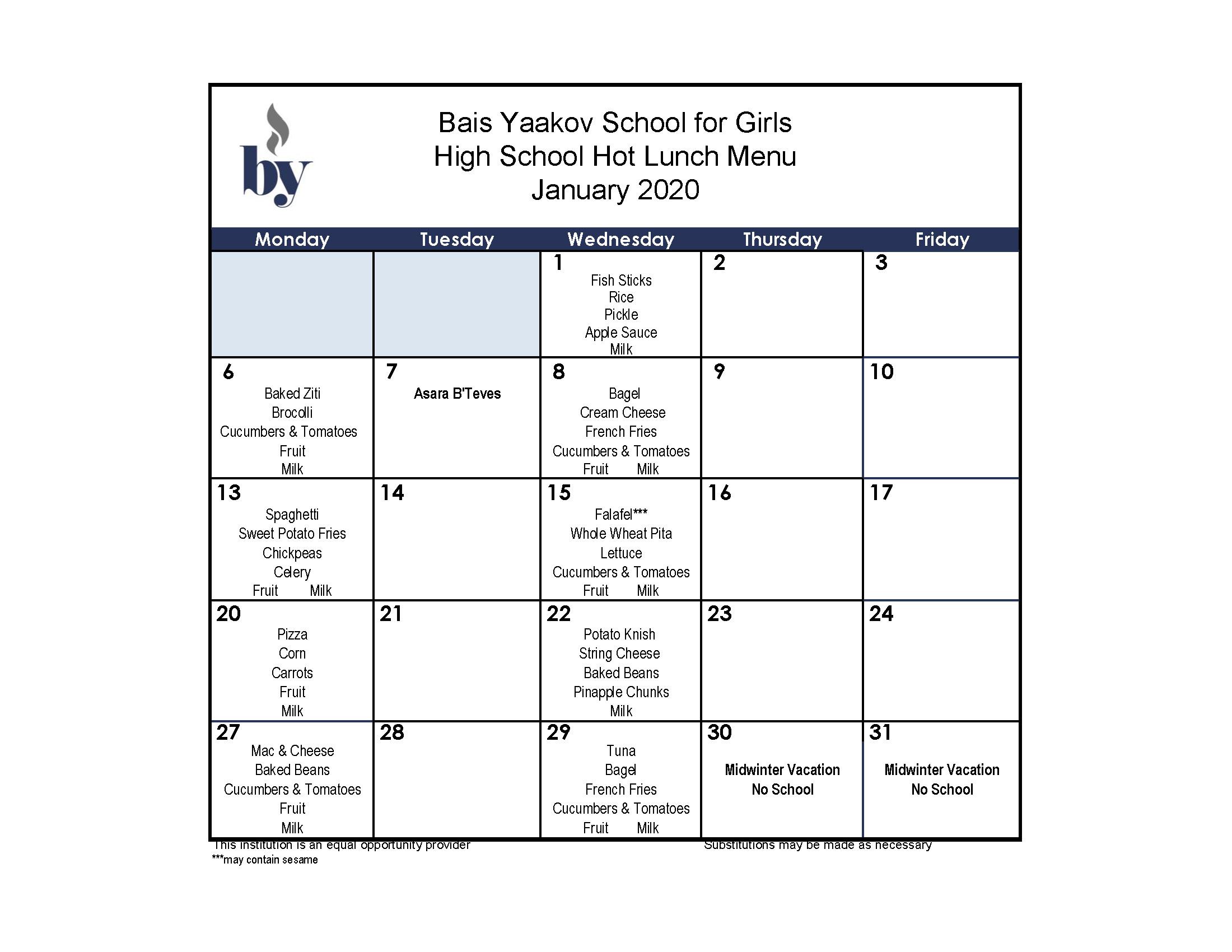 High School January Menu