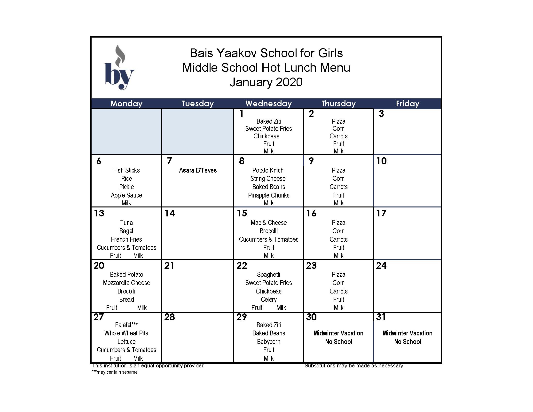 Middle School January Menu