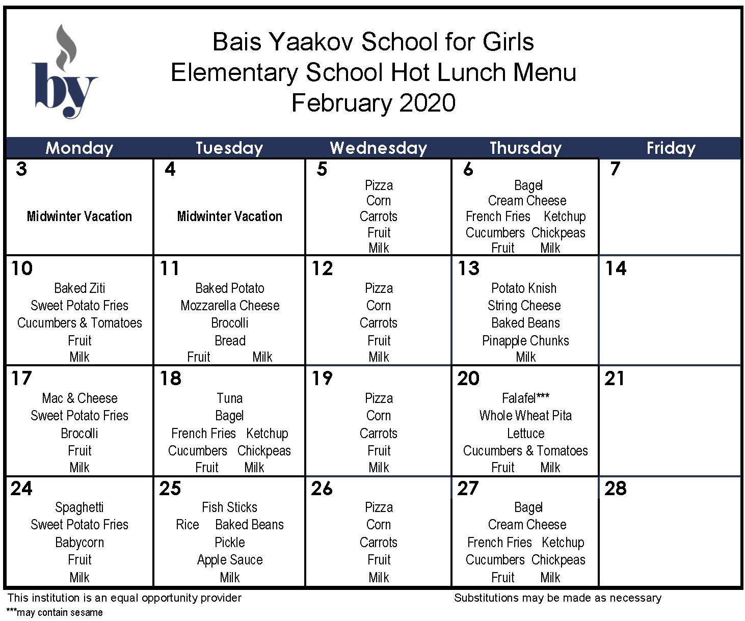 Elementary School February Menu