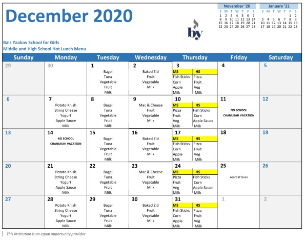 Middle and High School December Menu
