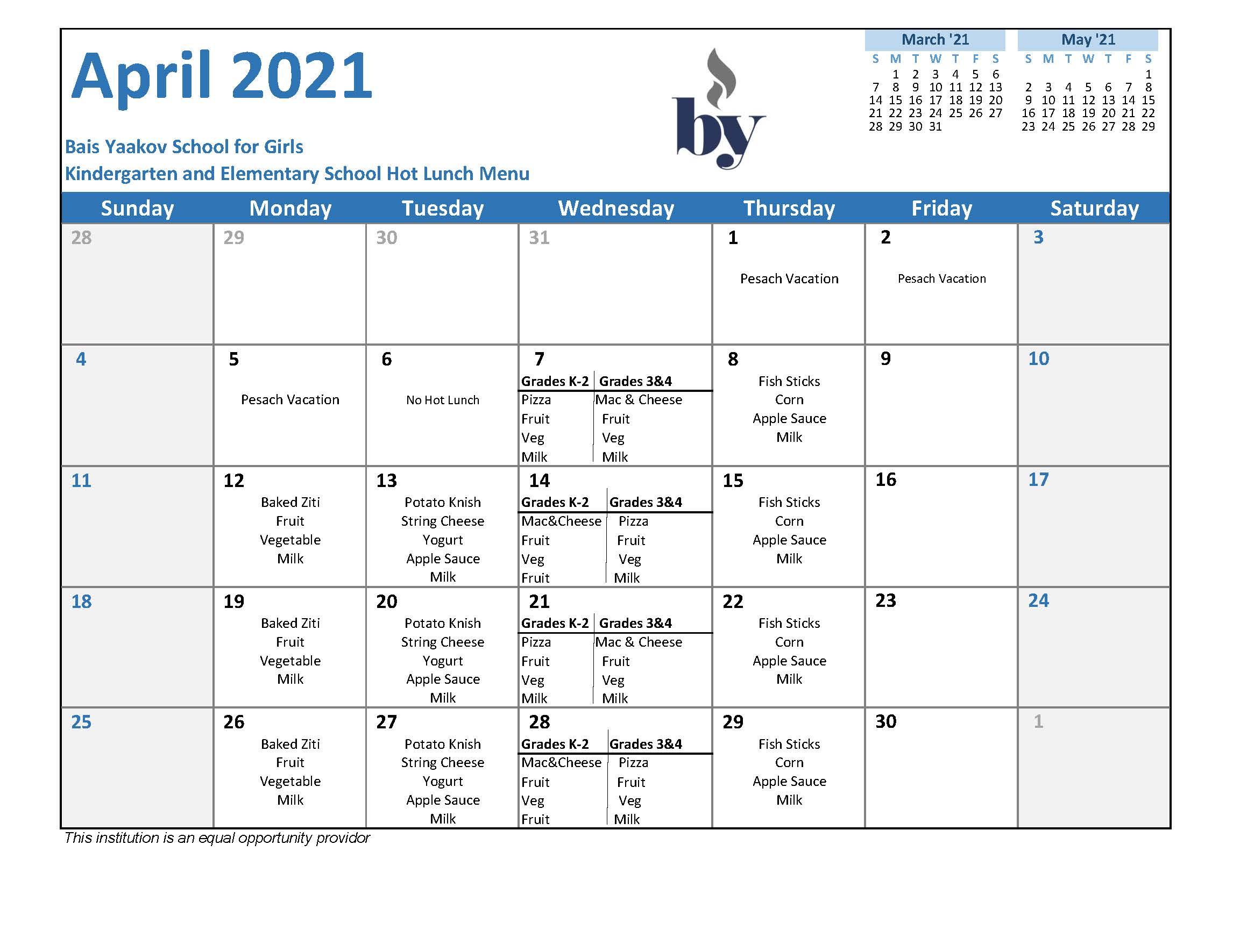 Elementary School April Menu