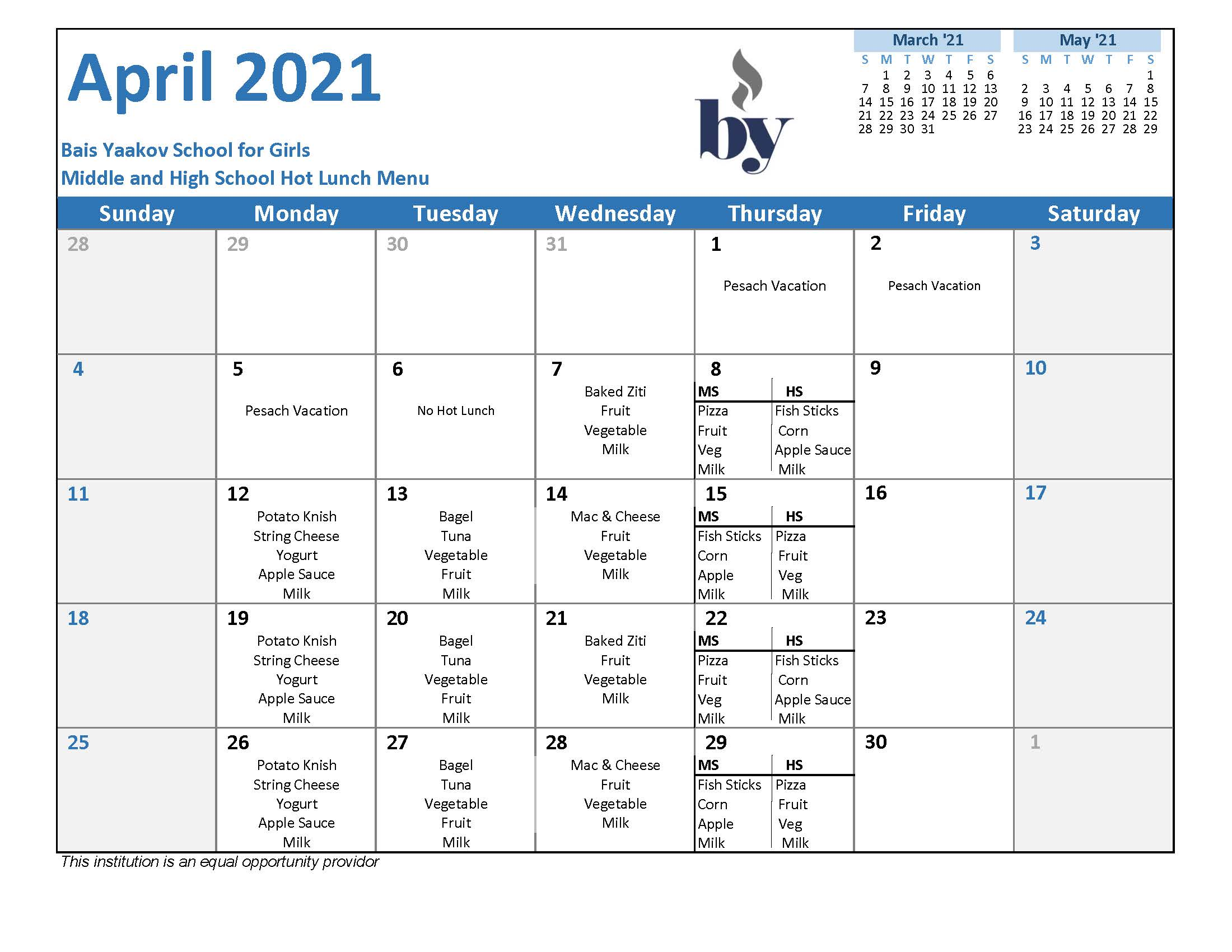 Middle and High School April Menu