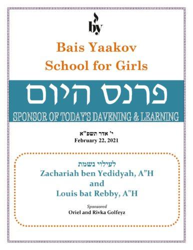 In Memory of Zachariah ben Yedidyah and Louis bat Rebby AH DODL 2_22_21