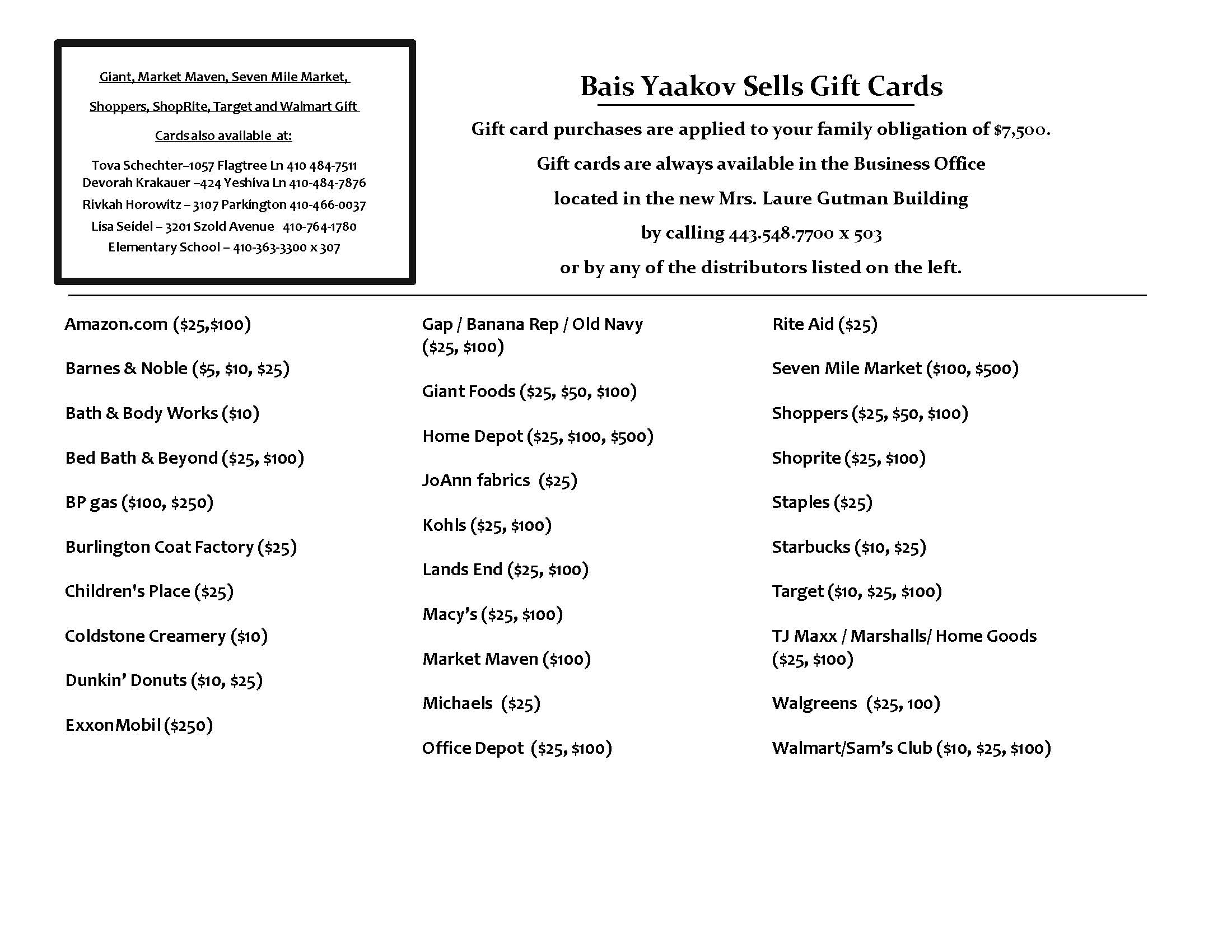 Gift Cards List 7-21