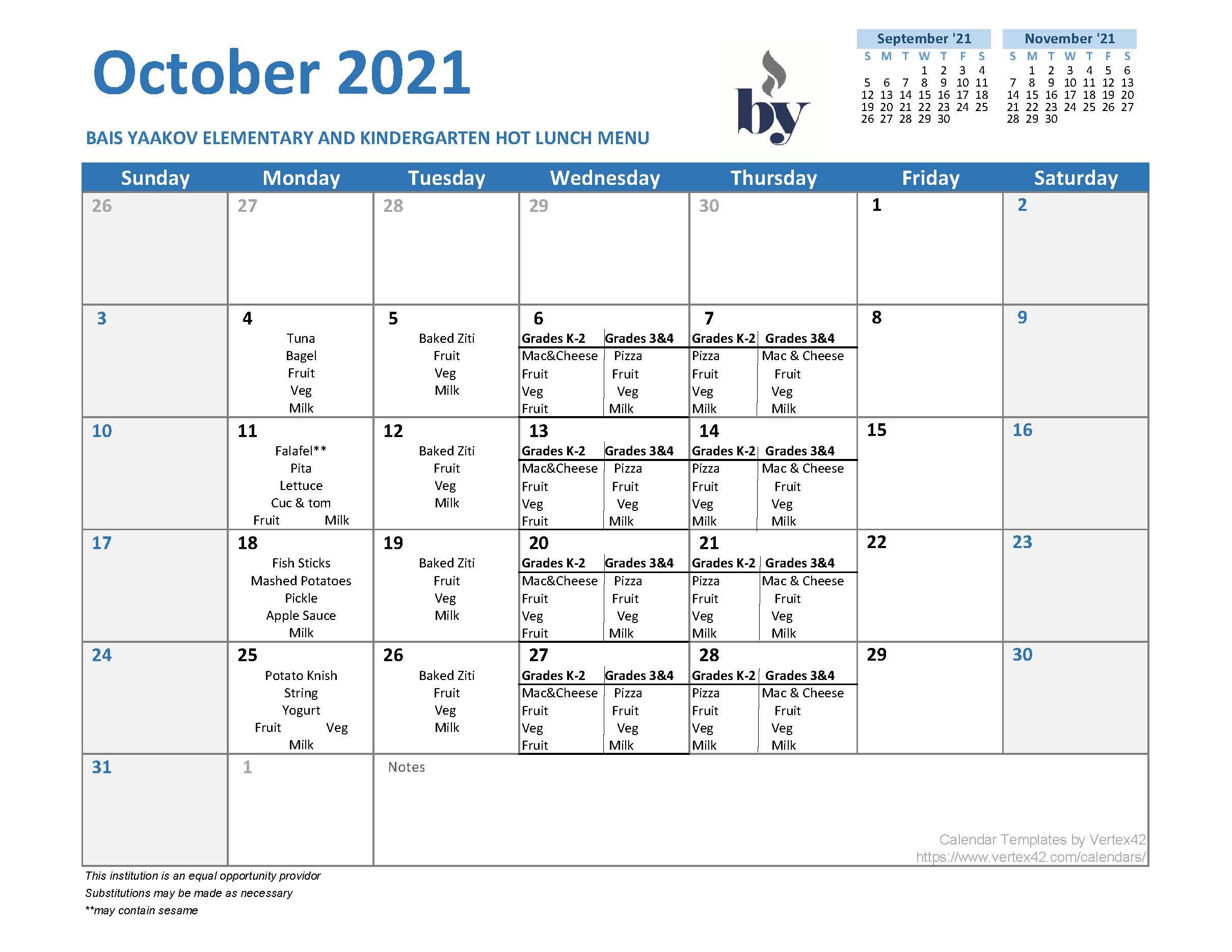 Elementary School Menu - October