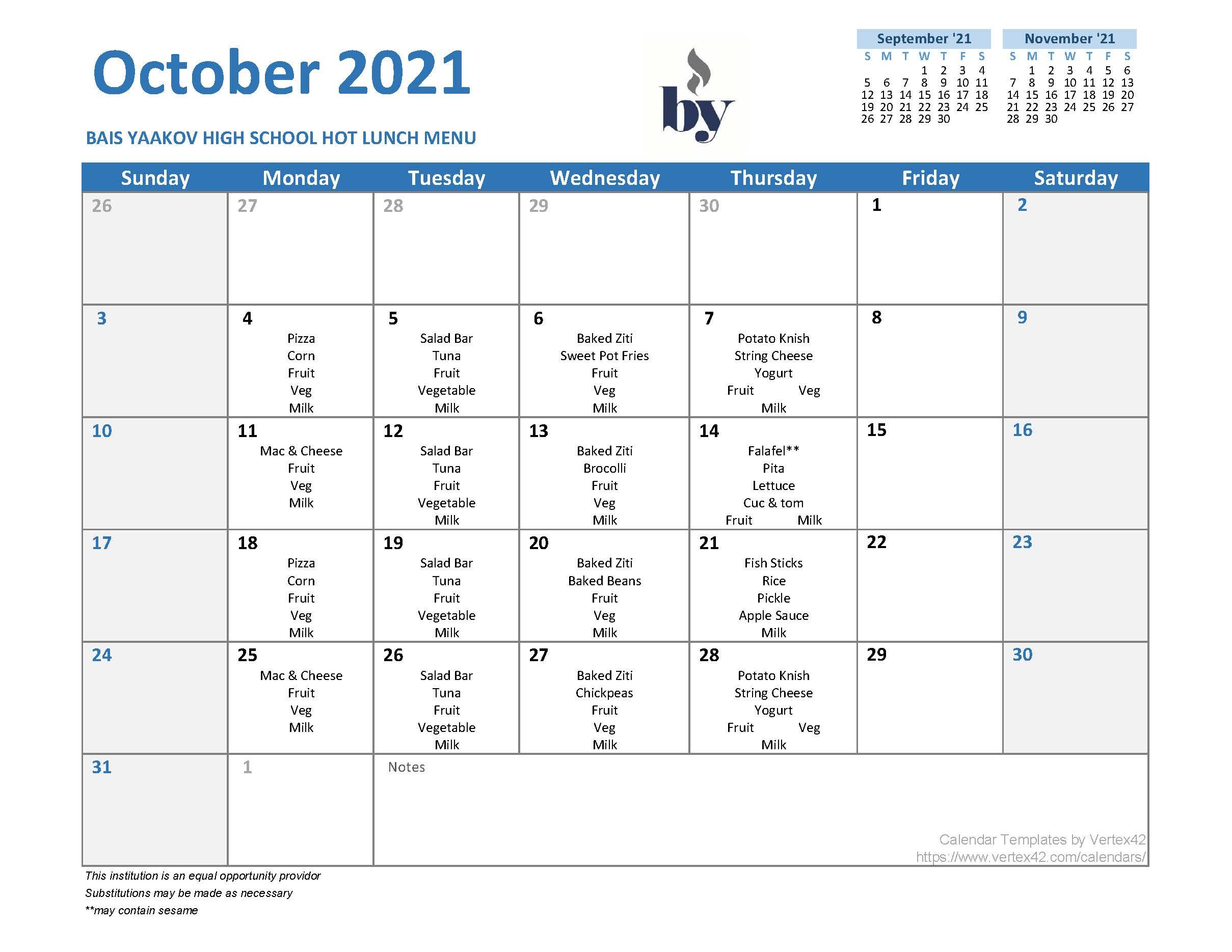 High School Menu - October