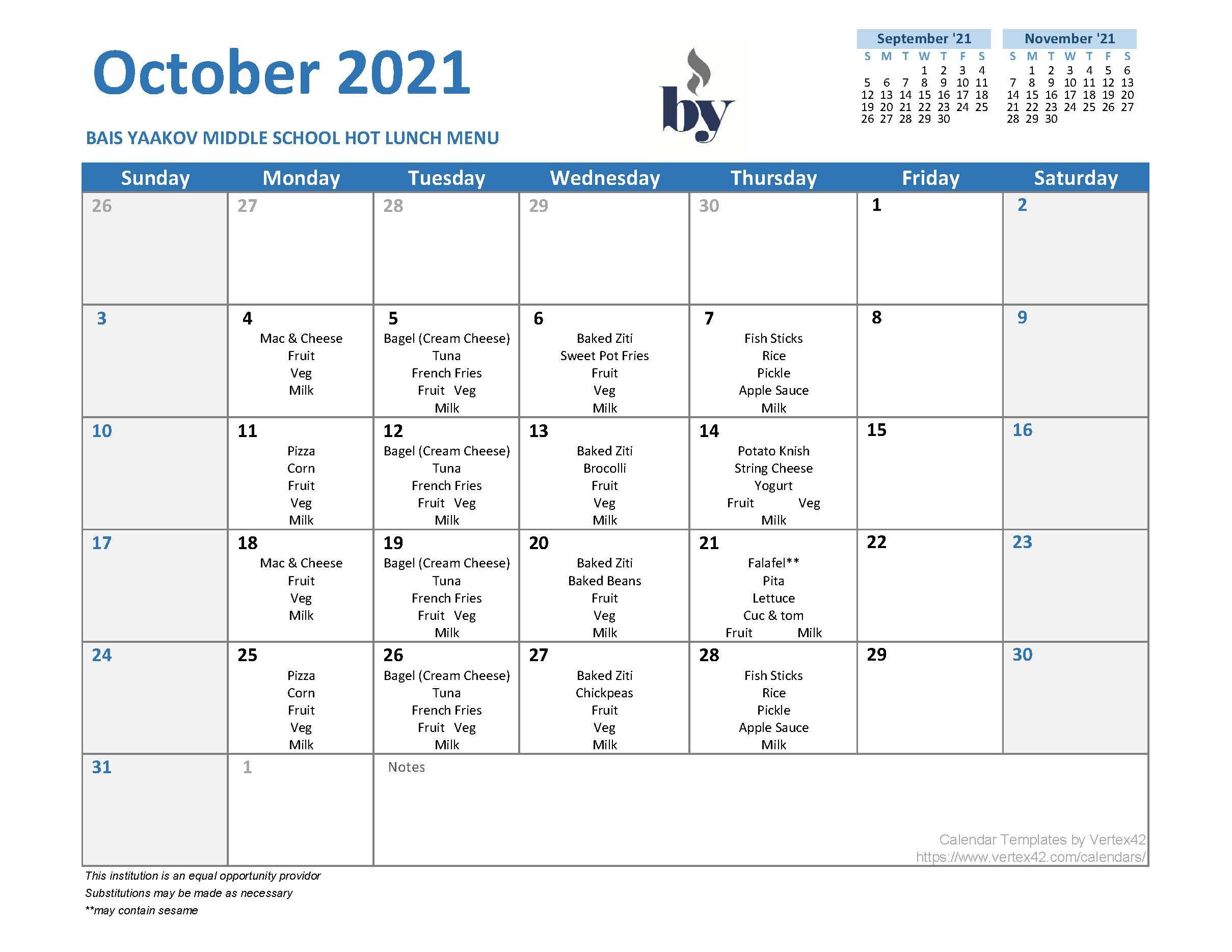Middle School Menu - October