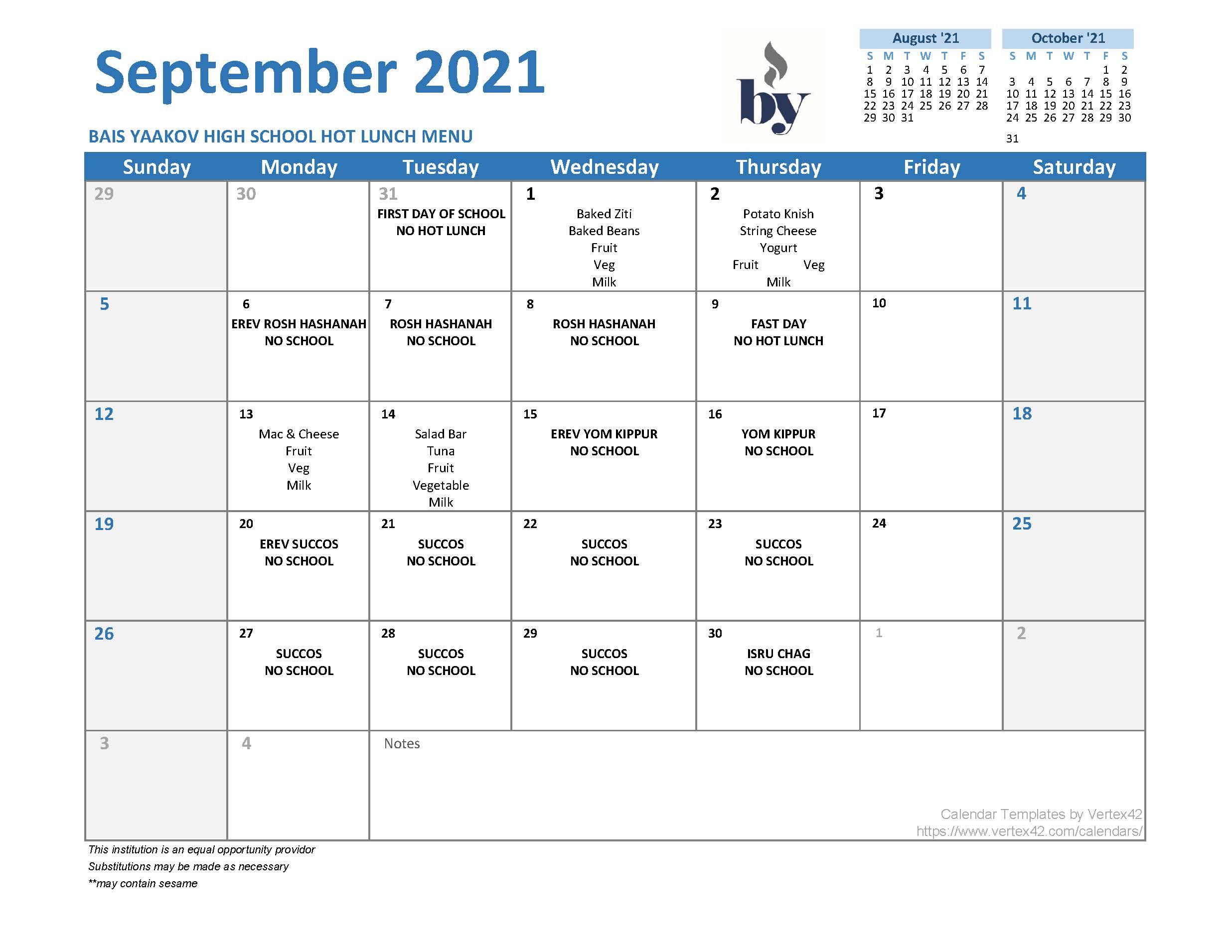 High School Menu - September